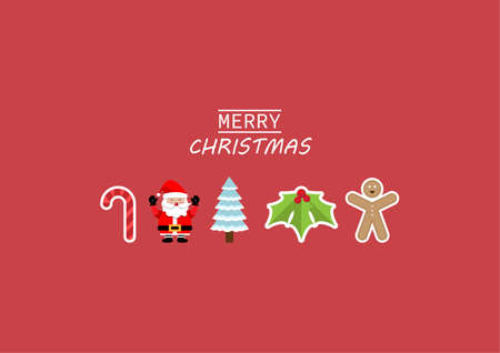 Merry Christmas and Happy New Year greeting card. Christmas ornament on red background. vector illustration.