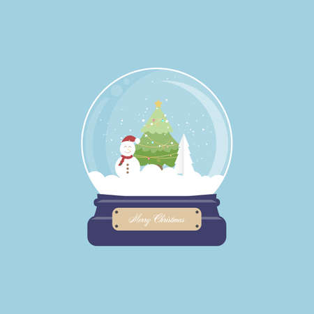 Merry christmas snowman and christmas tree in snow globe with. Vector illustration.