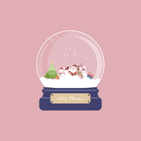 Christmas card with snow globe and santa claus, reindeer, bunny, snowman and gift on pink background. Vector illustration. Stock Illustratie