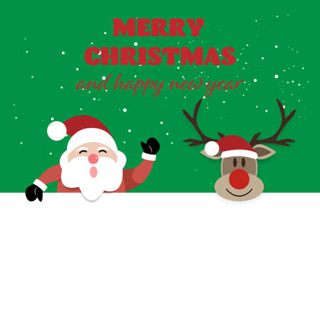 Merry Christmas and Happy New Year, Santa claus and reindeer with greeting card. vector illustration