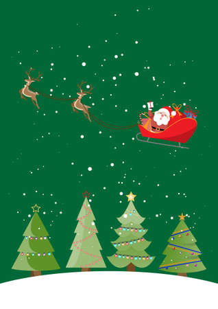 Christmas card, Santa and reindeer on a cart, Christmas background concept. vector illustration.