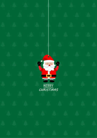 Merry Christmas greeting card, Santa claus hanging on christmas background. vector illustration.