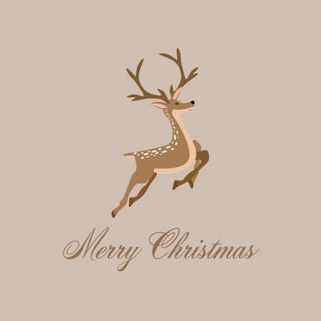 Merry Christmas and Happy New Year, Reindeer with greeting card. vector illustration.