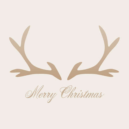 Merry Christmas greeting card with antler. Creative design for Christmas background. Vector illustration.