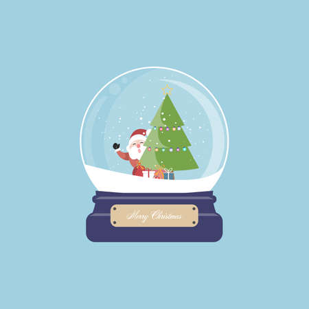 Merry christmas santa claus and christmas tree with gift in snow globe. Vector illustration.