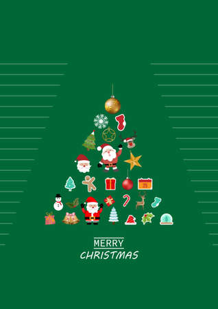 Merry Christmas greeting card, ornament christmas on green background. vector illustration.