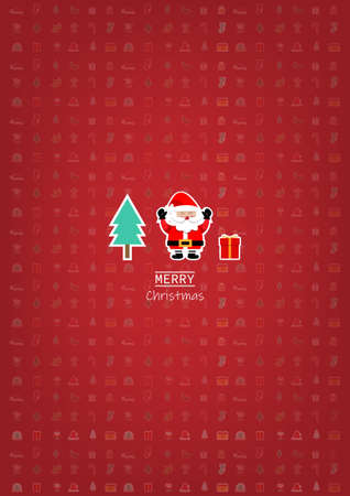 Merry Christmas greeting card, Santa claus with pine and gift on christmas background. vector illustration. Stock Illustratie