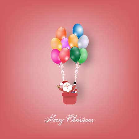 Christmas in balloon on with gift. greeting card. Vector illustration.