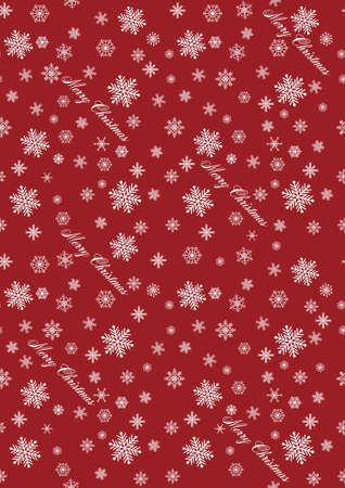 Christmas seamless pattern with snowflakes on red background. vector illustration