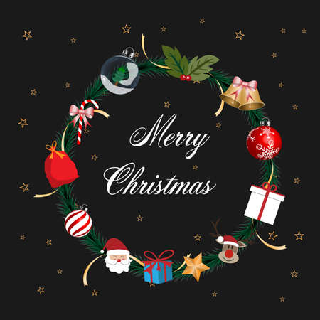 Merry Christmas and Happy New Year greeting card. Christmas ornament on dark background. vector illustration.