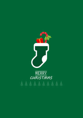 Merry Christmas greeting card with socks and gift with ornament christmas on green background. vector illustration.