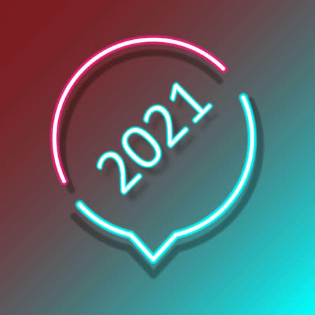 Happy New Year 2021 shining neon light background. Vector illustration. Stock Illustratie