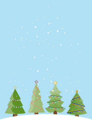Merry Christmas greeting card, christmas tree winter holiday decoration. vector illustration.