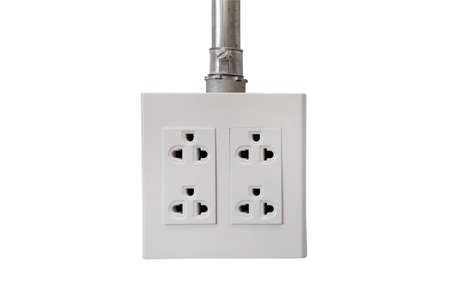 power socket outlet isolated on white background Foto de archivo