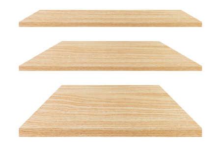 Set of wooden empty shelf isolated on white background.