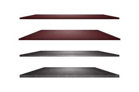 Set of metal empty shelf isolated on white background.