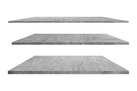Set of concrete empty shelf isolated on white background.