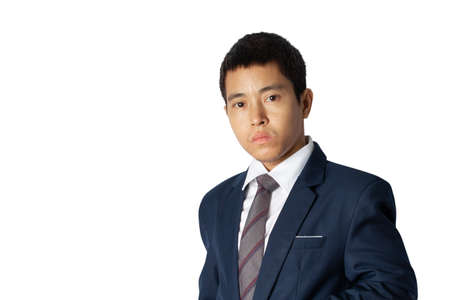 Portrait of asia businessman in suit isolated on white background with copy space. Banque d'images