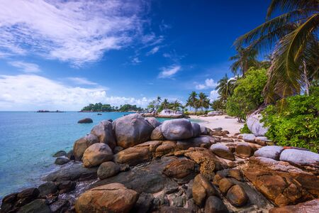 Panorama beach and rock Formation Photos at Berhala island kepulauan Riau