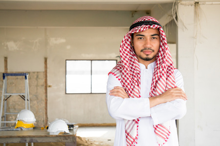 Arab businessman thinking action on site