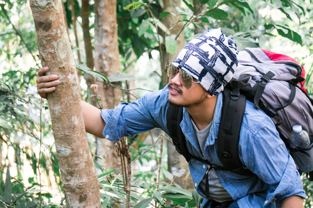 Asian traveler wearing sunglasses with backpack climbing in forest 스톡 콘텐츠