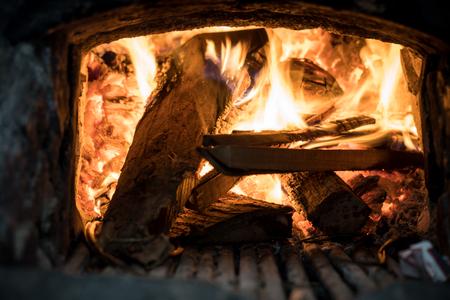 Fire / Fireplace for Grill Stok Fotoğraf