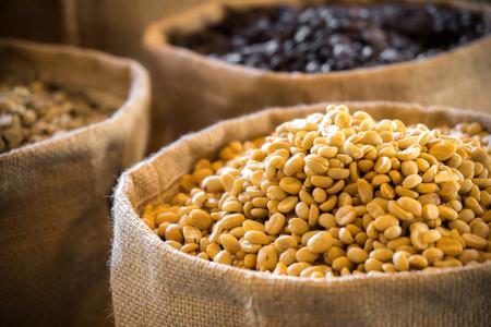 Raw Coffee bean in bag