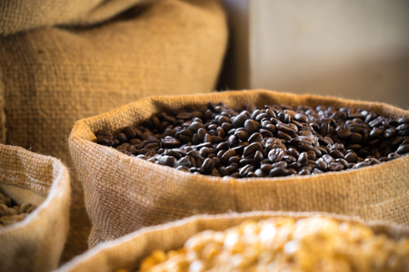 Coffee bean in bag 스톡 콘텐츠