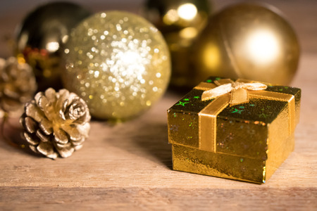 Gold present with decoration background with space for Christmas celebration for happy new year 2018 스톡 콘텐츠