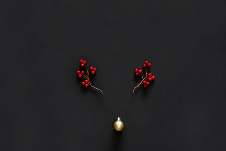Christmas background with reindeer composition, berries and bubble on black background 스톡 콘텐츠 - 137967948