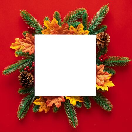 Frame for christmas festival concept with copy space and decoration, pine cones, pine branchs and maple