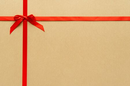 Christmas gift composition with red ribbin and bow. Flat lay, top view 스톡 콘텐츠 - 131979764