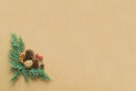 Christmas decorations on wood background with copy space. Flat lay, top view
