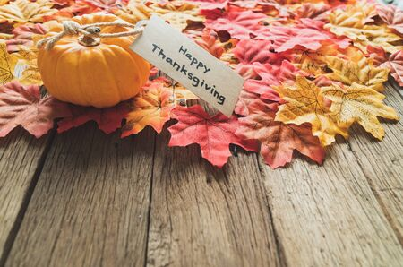 Autumn Thanksgiving day background from maple leaves, pumpkin and greeting tag on table wood vintage tone with red, orange, yellow and brown