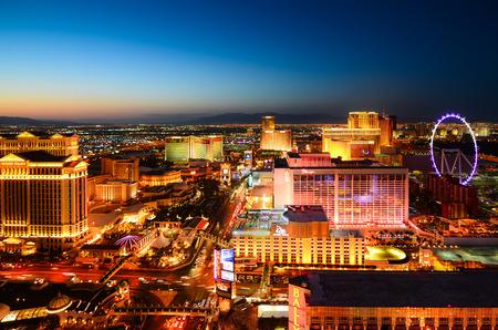 night: Las Vegas sunset view fron the top