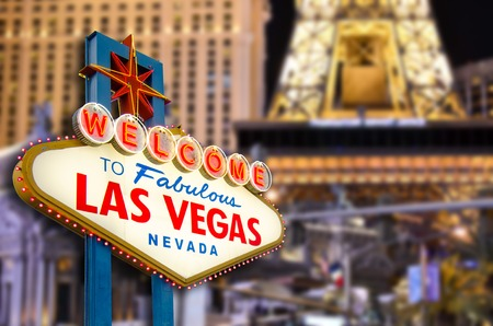 Welcome to Las Vegas Sign with Las Vegas city background (all logo had been removed).