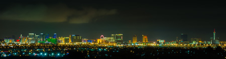 Panoramic Las Vegas Strip cityscape at night. Stock Photo