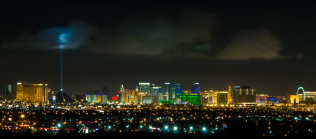 Panoramic Las Vegas Strip cityscape at night. Editorial