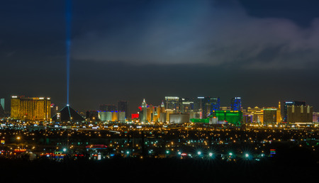 las vegas metropolitan area: Panoramic Las Vegas Strip cityscape at night. Editorial