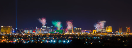 Firework Celebration Over Las Vegas Strip. Редакционное