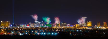 Firework Celebration Over Las Vegas Strip. Redactioneel