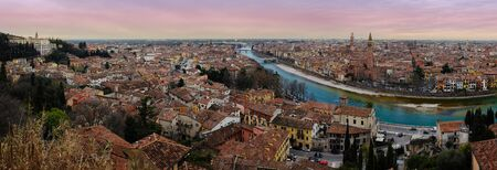 juliets: Romeo and Juliets city in panorama view from the top. Stock Photo