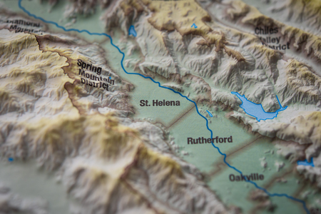 Close up of St. Helena wine district on 3D map, Napa valley 版權商用圖片