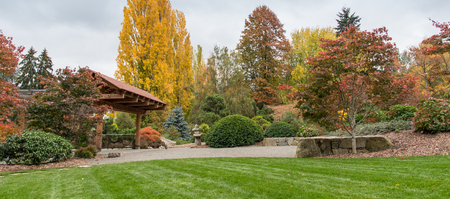 natural bridge state park: Autumn in Japanese garden Seattle , Washington Stock Photo