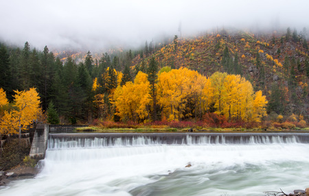 Autumn in Leavenworth, Tumwater river flow thru Levenworth in perfect timing of the year