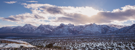 Snow on Red rock national park in panorama Stock Photo