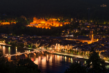 Heidelberg Castle at night from the hill, Baden, Germany