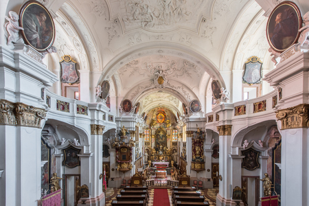 empty beautiful Church inside Durnstein Abbey, Wachau Valley, Austria