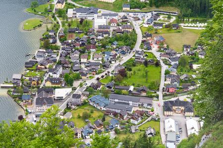 Aerial view of Hallstatt village in Alps, Austria 版權商用圖片