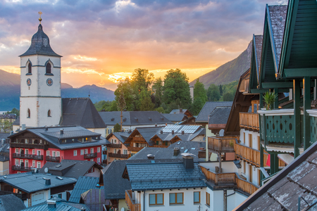 View from the hotel at St. Wolfgang Lake in beautiful Sunset summer time, Austria